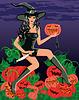 Сексуальная ведьма с ножом и тыквой | Векторный клипарт