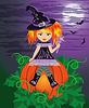Red-haired junge Hexe mit einem Zauberstab