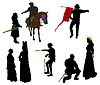 Vector clipart: Silhouettes of medieval people