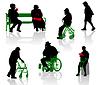 老及残疾人士剪影 | 向量插图