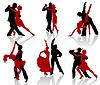 对跳舞的舞厅跳舞的剪影。探戈舞 | 向量插图