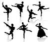 Silhouetten von Tänzerinnen und Tänzer in Bewegung auf aw | Stock Vektrografik