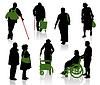 이전 및 장애인 사람들의 실루엣 | Stock Vector Graphics