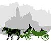 在布拉格老城广场马车剪影 | 向量插图
