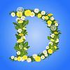 Buchstabe D, aus den Blüten von Löwenzahn gesammelt