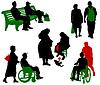 Silhouetten von alten und behinderten Menschen