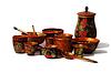Dekoracyjne naczynia z drzewa | Stock Foto