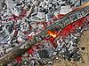 Abstrakte Lagerfeuer mit heißem carmonized Holz Kohle, | Stock Foto