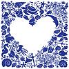 Белое сердце окружено рыбами и дельфинами | Векторный клипарт