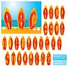 ABC - алфавит - доски для серфинга с буквами | Векторный клипарт