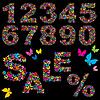 Цифры, слово SALE и символ процента из бабочек | Векторный клипарт