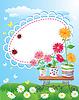 Летняя рамка с цветами в горшках и божьи коровки | Векторный клипарт