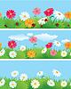 Бесшовные бордюры с травой и цветочками | Векторный клипарт