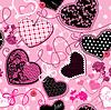 Розовые и черные сердца на розовом бесшовном фоне | Векторный клипарт