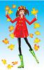 Hübsches Mädchen Dressing Mantel und Gummistiefel