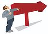 Mensch zeigt in der Richtung des roten Pfeiles | Stock Vektrografik