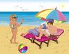 Ehepaar unter Sonnenschirm am Strand