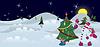 Schneemann ist mit Geschenken zu Weihnachten Banner