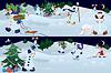Schneemänner lebend im Zauberwald | Stock Vektrografik