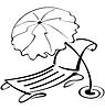 Schwarze und weiße Kontur Sonnenschirm und Liegestuhl | Stock Vektrografik