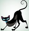 블루 리본을 가진 검은 고양이 | Stock Vector Graphics