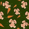 당근 토끼 - 원활한 녹색 패턴 | Stock Vector Graphics