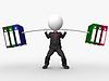 Überlast 3D Geschäftsmann Aufhebung Gewichte von schweren gemacht | Stock Illustration