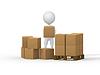 3d pequeña gente llevando cajas de cartón | Ilustración