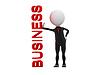 3d Geschäftsmann in der Nähe stehende Geschäft Wort Bord | Stock Illustration
