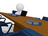 3d biznesmen czeka w sali konferencyjnej w korporacyjnych | Stock Illustration