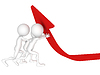 3d diagrama hombres empujando flecha roja | Ilustración