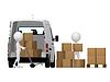3d personas que transportan pequeñas carretilla de mano con las cajas | Ilustración