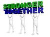 ID 3361019 | Drei Männer mit vereinten Kräften Worte Gemeinsam Stärker heben | Illustration mit hoher Auflösung | CLIPARTO