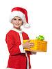 Boy holding Weihnachtsgeschenk | Stock Foto