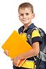 Chłopiec gospodarstwa książek. Powrót do szkoły | Stock Foto