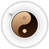 Tasse Kaffee mit Yin-Yang-Symbol
