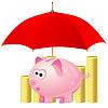 Sparschwein und Geld unter rotem Regenschirm | Stock Vektrografik