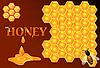 Honig fließt auf Honigwabe Hintergrund