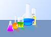 Frasco del laboratorio y Cilindro graduado | Ilustración vectorial