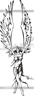 Dziewczyna Anioł ze skrzydłami w górę | Klipart wektorowy |ID 3000952