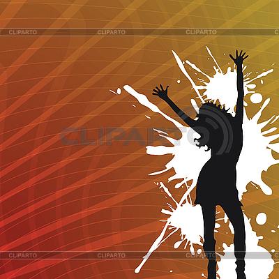 抽象的背景,女孩剪影 | 向量插图 |ID 3001254