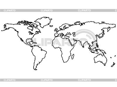 Weltkarte mit den Konturen der Kontinente | Stock Vektorgrafik |ID 3002625