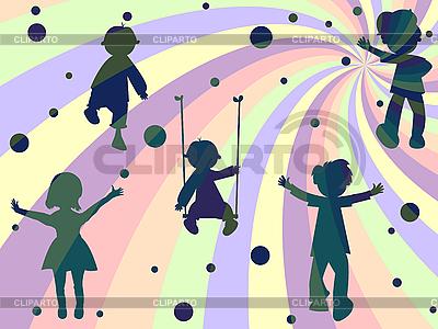 Vier Kinder Silhouetten | Stock Vektorgrafik |ID 3002947