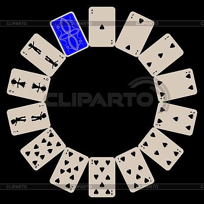 Pik kształcie okręgu kart izolowanych na czarno | Klipart wektorowy |ID 3003011