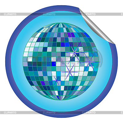 Aufkleber blaue Disco-Kugel | Stock Vektorgrafik |ID 3003395
