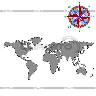 Szary mapa świata z róży wiatrów | Klipart wektorowy |ID 3003857