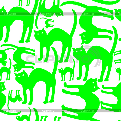 background patterns green. Green cats pattern isolated on