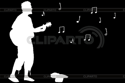 Śpiewa facet gitara | Klipart wektorowy |ID 3003987