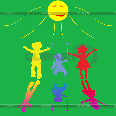 Szczęśliwe małe dzieci bawiące się na tle słoneczny | Klipart wektorowy |ID 3004063