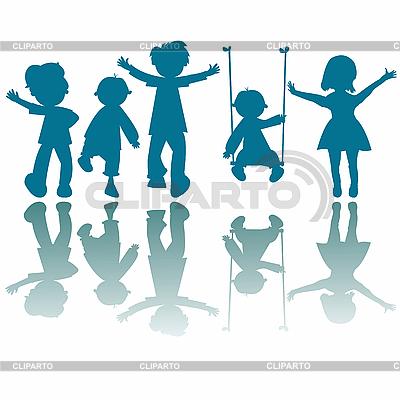 Szczęśliwe małe dzieci sylwetki | Klipart wektorowy |ID 3004073